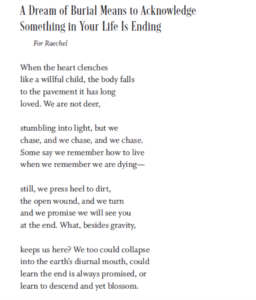 "Hannah Dow's poem ""A Dream of Burial Means to Acknowledge Something In Your Life Is Ending"""
