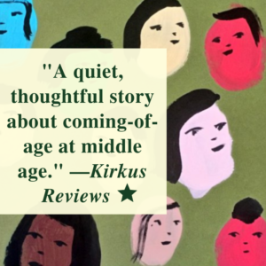 """A quote from the Kirkus Review of Big Familia by Tomas Moniz, set against the book cover, which includes many different colored illustrated faces. """"A quiet, thoughtful story about coming-of-age at middle age."""" --Kirkus Reviews. Image of star to denote starred review."""